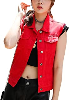 Best womens red denim vest Reviews