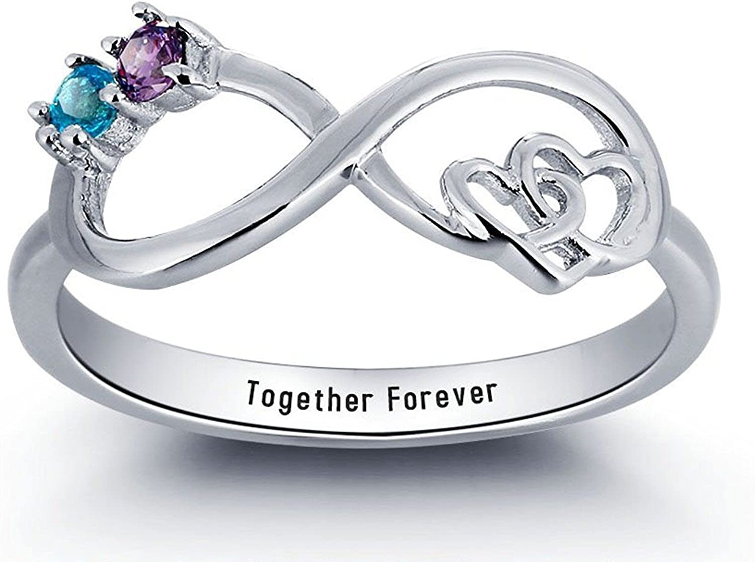 Sterling Silver Infinity Promise Ring Birthstones Excellent 2 Ranking TOP6 + 1 Engravin