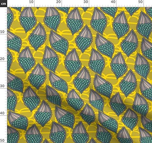 Samen, Schoten, Seidenpflanze, Schmetterling Stoffe - Individuell Bedruckt von Spoonflower - Design von Kheckart Gedruckt auf Leinen Baumwoll Canvas