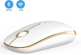 2.4GHz Wireless Bluetooth Mouse, Jelly Comb Dual Mode Slim Wireless Mouse with 2400 DPI Compatible for PC, Laptop, Mac, Android, Windows (White and Gold)