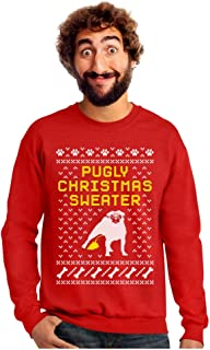 Tstars Pugly Christmas Sweater - Funny Pug Ugly Christmas Sweater Xmas Party Sweatshirt