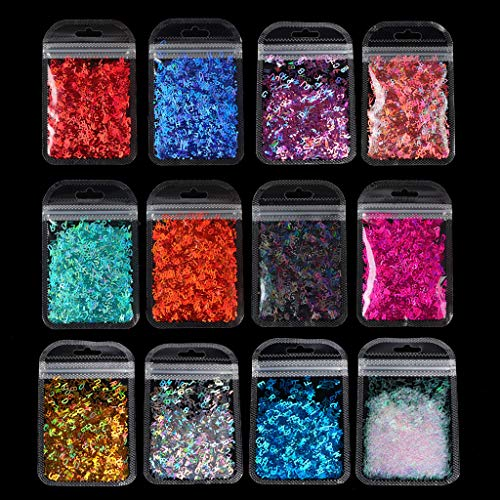 GREEN&RARE Polvo de purpurina grueso y fino, 12 colores, letras holográficas del alfabeto, lentejuelas de resina epoxi para manualidades de resina epoxi, 2 g por