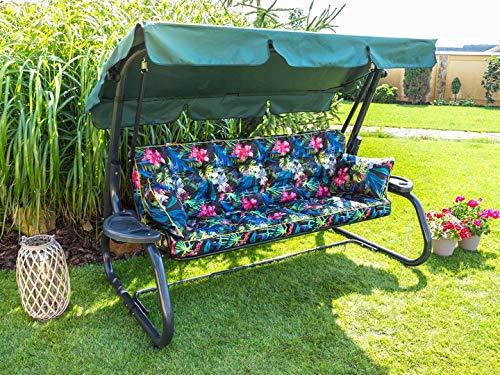 Cojín para banco de jardín, 120 x 56 x 49 cm, incluye 2 cojines, cojín acolchado para balancín de jardín (flores de varios colores)