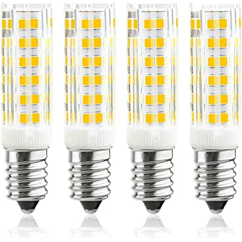 Luxvista 6W E14 Regulable LED Campana Bombilla, Equivalente a 50W Bombillas Halógena, Ángulo de Haz de 360 °Dimmable Candelabra Luz de E14 Rosca Edison Pequeña, Blanco Cálido 3000K, 4 Unidades: Amazon.es: Iluminación