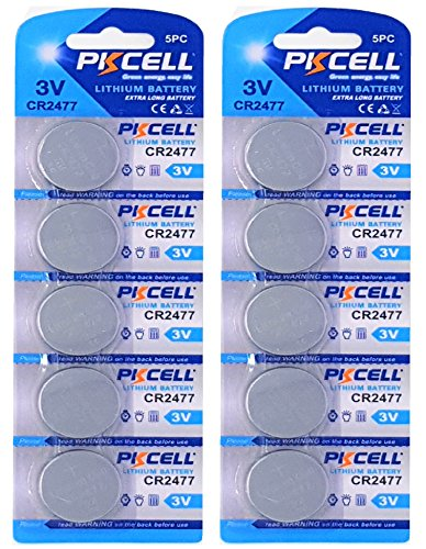 PKCELL 10 x CR2477 3V Lithium Knopfzelle 900 mAh (2 Blistercards a 5 Batterien) Markenware FBA
