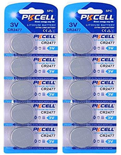PKCELL 10 x CR2477 3V Lithium Knopfzelle 900 mAh (2 Blistercards a 5 Batterien) Markenware FBA