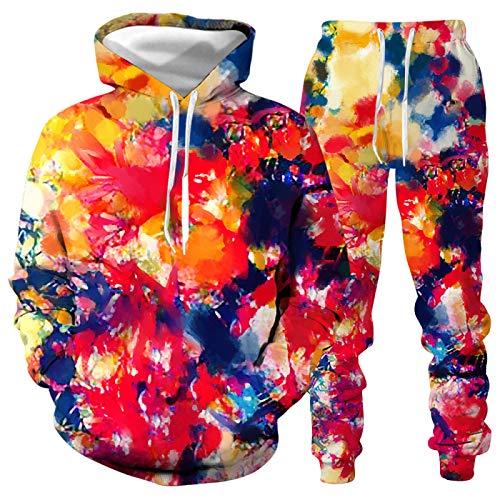 DREAMING-Pintura en color 3D para hombres y mujeres, suéter informal con capucha, conjunto de suéter de manga larga + pantalones, traje deportivo XL