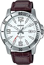 Casio Men's Off White Dial Leather Band Watch - MTP-VD01L-7BVUDF Analog