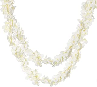 "Royal Imports Wisteria Orchid Lei Flower Garland Vine Artificial Fake Silk 2 Pk. of 80"" ea. for Weddings, Valentines, Wreaths, Faux Hanging Party Décor, White"