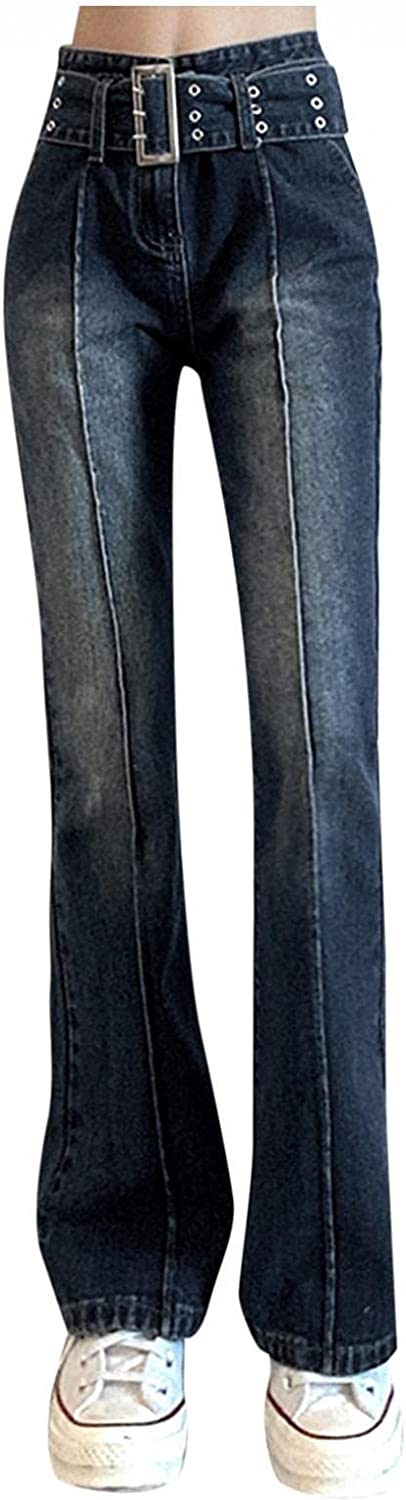 Aiouios Y2K Fashion Jeans for Women High Waisted Casual Baggy Distressed Straight Jeans Stretch Slim Fit Denim Pants Trousers