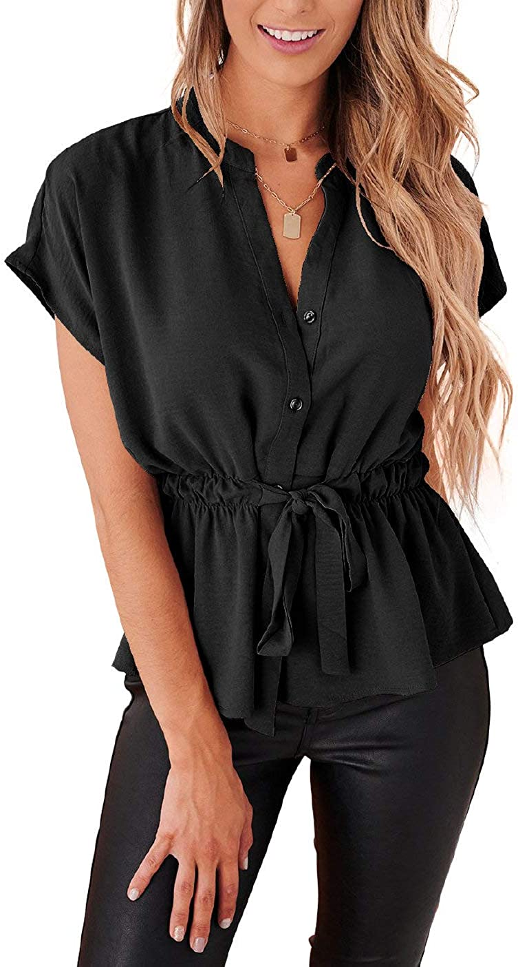 Womens Button Down Blouses Casual Peplum Summer Tops Dressy Chiffon Work Blouse