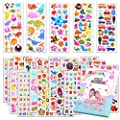 Kids Stickers 1000+, 40 Different Sheets, 3D Puffy Stickers for Kids, Bulk Stickers for Girl Boy Birthday Gift, Scrapbooking, Teachers, Toddlers, Including Animals, Stars, Fishes, Hearts and More by SWARKOL