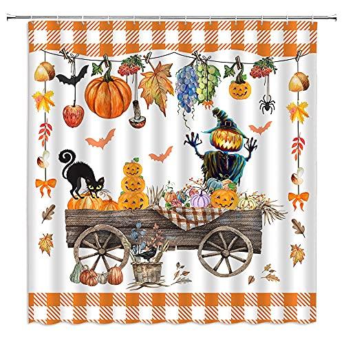 BYLLLFIR Halloween-Kürbis-Büffel-Karo-Duschvorhang, schwarze Katze, Geister, Vogelscheuche, Herbstblätter, Kinder-Faschings-Dekoration, Stoff-Badezimmer-Set mit Haken, Halloween-Gitter
