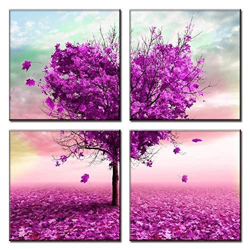 4 stuks paars hart liefde boom romantische canvas abstracte bloem schilderij thuis slaapkamer woonkamer muur verfraaien dressoir foto's 40x40cmx4 geen frame