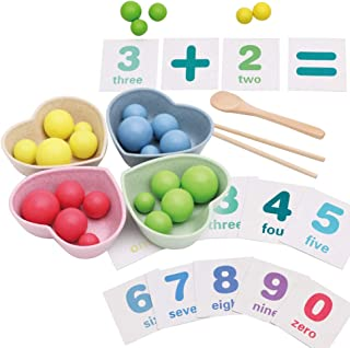 SAIrch Beads Chopsticks Toy, Kids Math Toys Children Use Chopsticks Clip Beads Toys Multi-Functional Teaching Aids, Early Learning Puzzle, for Baby Boys and Girls