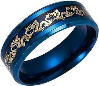 ERLUER خواتم للرجال مرصعة بالذهب التنين الفولاذ المقاوم للصدأ خاتم الزفاف مجوهرات راكب الدراجة للرجال النساء أسود أزرق