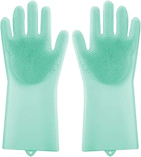 Lorima MG-G Magic Silicone Scrubber, Reusable Brush Heat Resistant Gloves for Cleaning, Dish, Washing The Car, Pet Hair Care, Normal, Green