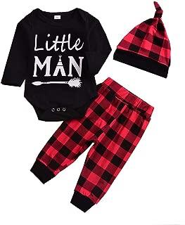 Colorfog Baby Boys Girls Clothes Little Man Long Sleeve Romper, Plaid Pants + Cute Hat 3pcs Outfits Set