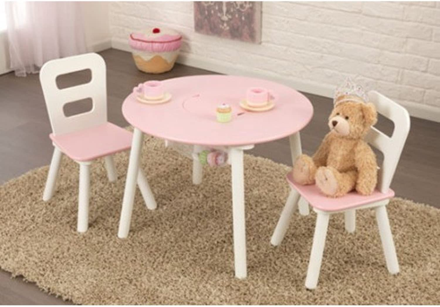 KidKraft Kids 3 Piece Table and Chair Set, White Pink