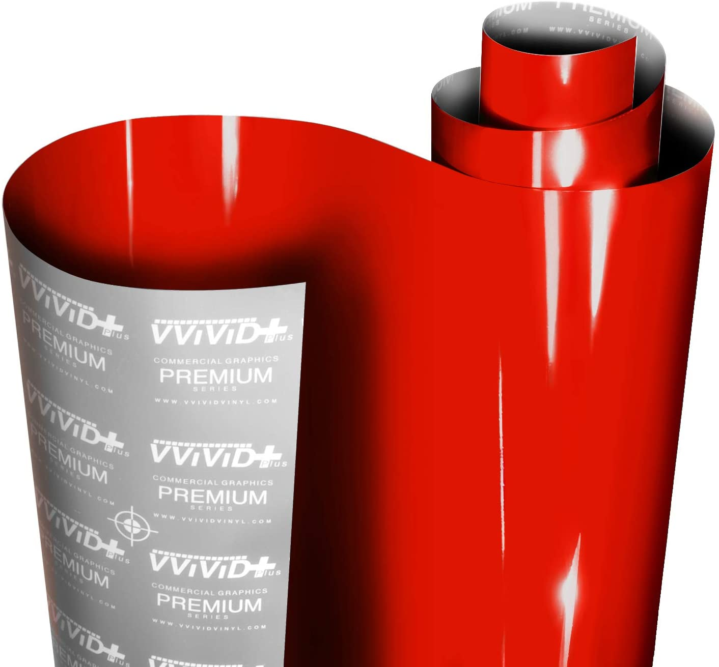 VViViD+ Ultra Gloss Racing Red Vinyl Car Wrap Premium Paint Replacement Film Roll With Nano Air Release Technology Indoor Outdoor 1ft x 54 Stretchable Protective Cap Liner Self Adhesive
