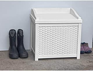 Suncast 22-Gallon Small Deck Box - Lightweight Resin Indoor/Outdoor Storage Container and Seat for Patio Cushions, Gardening Tools and Toys - Store Items on Patio, Garage, Yard - White