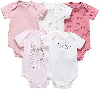 Divertido Pijama,K-Youth Bodies Bebe Manga Corta Pack con 5 Body para Bebé Recien Nacido Mameluco Bebe Niña Pelele Bebe Niño Mono Niños Ropa Bebés Niñas Ropa de Dormir