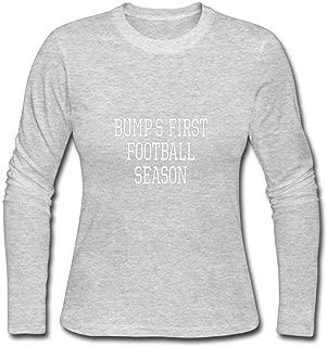 Janllow Bump's First Football Season Womens Custom Long Sleeves Cotton T Shirt