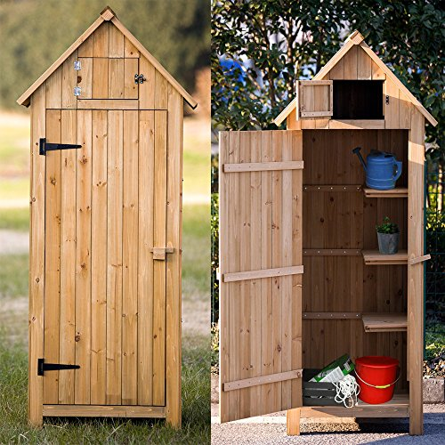 """70"""" Garden Storage Shed, Fir 100% Wooden Shed with Natural Wood Color, Fashionable Design with Double Doors Lockable Cabinet, Durable & Suitable for Storage"""