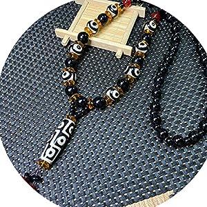 J.Memi's Stein Halskette Herren Achat Wickelarmband mit Dzi Perlen Anhänger, Tibetischer Buddhismus Handarbeit Schmuck Für Yoga Meditation,C