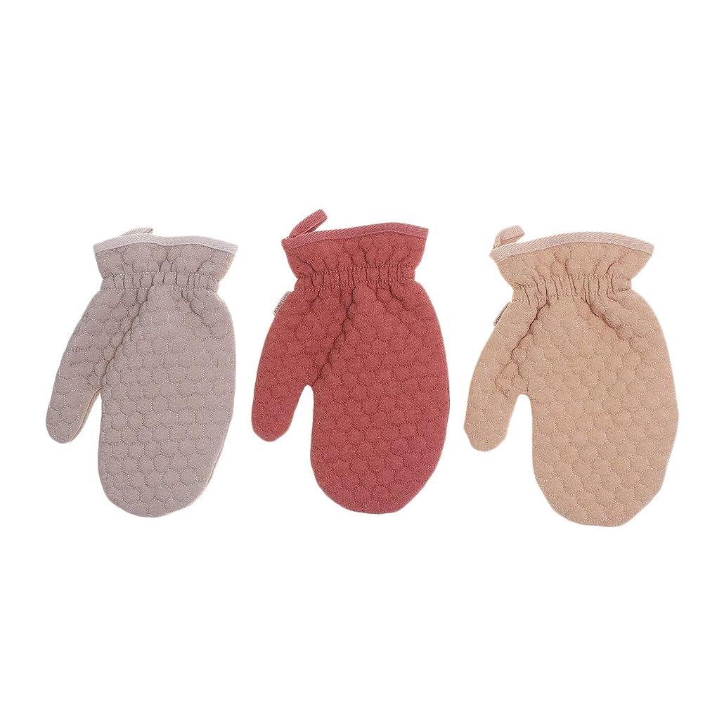 抱擁喉頭赤Beaupretty 3本剥離手袋ダブルサイドシャワー手袋スクラブグローブシャワー用デュアルテクスチャバスグローブ(ダークレッドライトブラウンライトコーヒー)