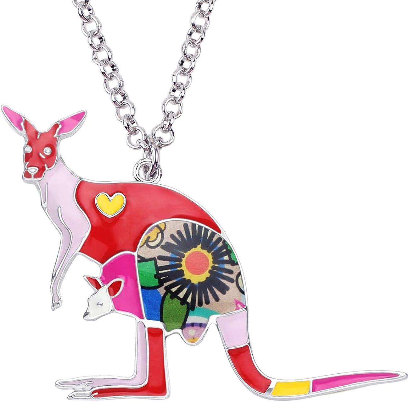 Bonsny Enamel Zinc Alloy Australia Kangaroo Choker Necklace Chain Pendant Fashion Animal Jewelry for Women Girl Charm Gift