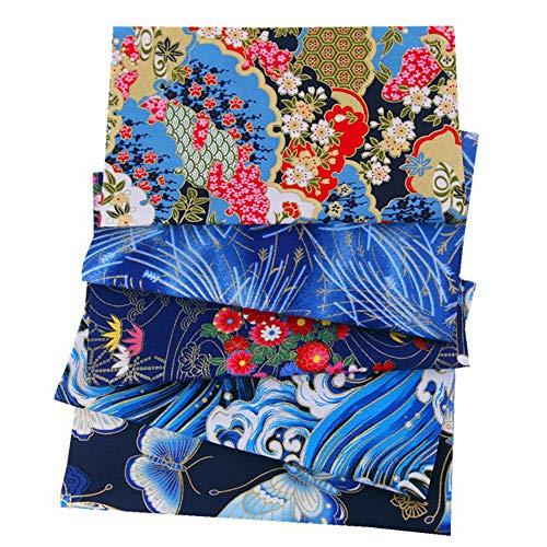 ASNOMY 5 piezas Japonés Tela de algodón para manualidades, Telas Patchwork de Algodón para Tejido Costura Pelusas DIY Artcraft Trabajo Álbumes de Recortes, 50 cm x 50 cm (Azul)