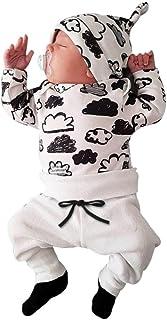 QinMM Babykleidung Satz, Neugeborenes Baby Mädchen Jungen Niedlich Wolken Druck Lange Ärmel T-Shirt Tops  Hosen Ausstattungs Kleidung Satz 0-18Monate