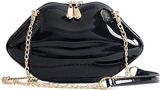 Women Lip Evening Clutch Purses Leather Lips-shaped Crossbody Bags Vintage Banquet Handbag