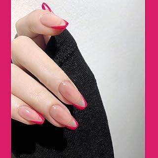 Poliphili 24Pcs Fashion Glossy Full Cover Coffin Pattern Acrylic Fake Nails Tips Party Night Club Clip Press on Acrylic Fa...