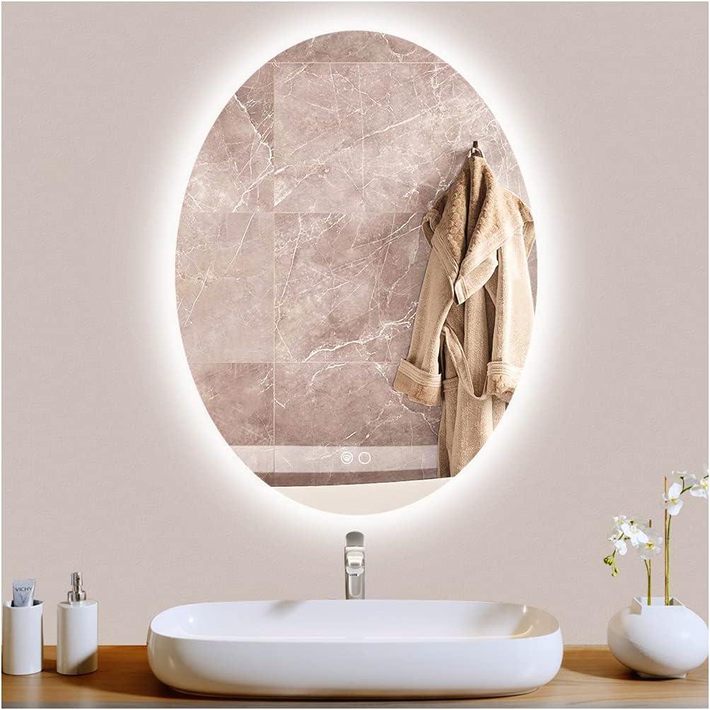 Keonjinn LED Oval Mirror Credence 24 x Backlit Inch 32 Bathroom Dedication Di