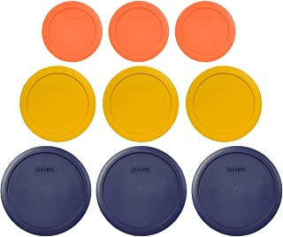 Pyrex (3) 7402-PC 6/7 Cup Blue (3) 7201-PC 4 Cup Butter Yellow (3) 7200-PC 2 Cup Orange Replacement Food Storage Lids