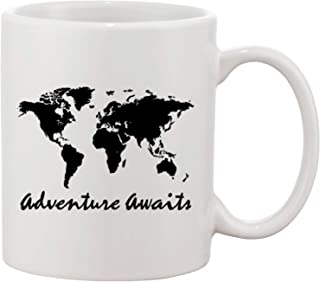 Map Of The World Adventure Awaits Travel The Globe Gift Mug - Best Fathers Day Coffee Cup - Mugs Unique Gift Idea Birthday + Christmas Present – Maps Gifts Mug Presents Ideas Mom Daughter Cups Dads