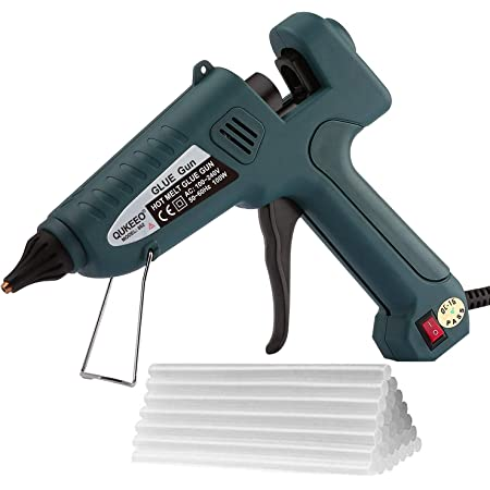 "Hot Glue Gun, 100W high Temperature Heavy Duty Full Size Glue Gun kit and 30 Glue Sticks (0.43"" x 8"") for Office/Handcraft Decoration/Christmas Decoration/Gift (Dark Green)"