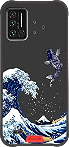 UMIDIGI Bison Case,Entaifeng Scratch Resistant Grippy Soft TPU Rubber Full Body Protective Phone Cover for UMIDIGI Bison (Black/Sea Wave)