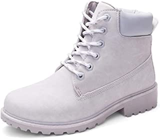 Women Winter Boots Fashion Leather Lace Up Shoes Warm Fur Plush Flat Heel Ankle Snow Shoes Grey