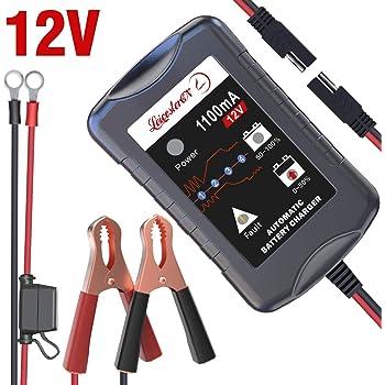LST 12Vバッテリー充電器 バッテリーチャージャー メンテナンス充電器 トリクルチャージ 3-30Ah用 全自動4ステージ充電 LEDランプ 逆接続&ショート&過電圧&過電流保護 (1.1A)