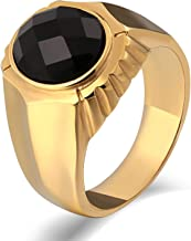 ANAZOZ Jewelry Mens Rings Stainless Steel Signet Rings Punk Wedding Bands High Polished Round Black Cubic Zirconia 15MM