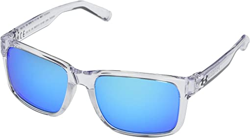 Shiny Crystal Clear Frame/Frosted Clear Rubber/Gray/Blue Mirror