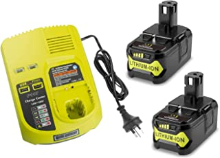 Upgrade 5.0Ah Compatible Battery &Charger for Ryobi P108 P107 P104 P105 P102 P103 18V Ryobi ONE+ Cordless Tools