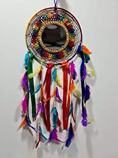 Kitchen Hub Mirror with Multicolor Feather and Ribbon Attract Positive Dreams Traditional Indian Wall Art Dream Catcher (6...