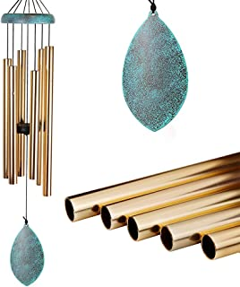Memorial Wind Chimes Outdoor Deep Tone, 35'' Amazing Grace Wind Chime Indoor, Sympathy Large Wind Chime With 6 Tuned Tubes, Remembrance Elegant Chime For Garden, Patio, Balcony And Home (Golden)