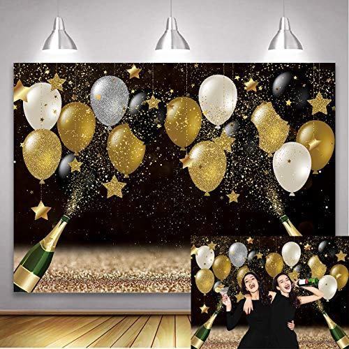 Fondo negro dorado con globos dorados, champán Bokeh, fondo