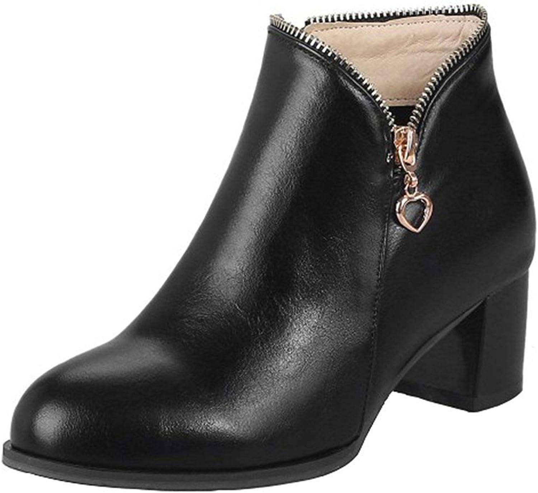 Gedigits Women's Dressy Block Medium Heel Short Boots Round Toe Side Zipper Short Boots Black 4 M US