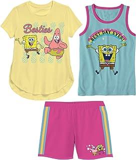 Nickelodeon Spongebob Besties and Best Day Ever Yellow 3 Piece T-Shirt Tank Top Shorts Set Little Girls